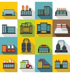 Industrial building factory icons set flat style vector image