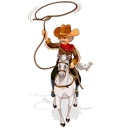 A cowboy riding a horse while holding a rope vector