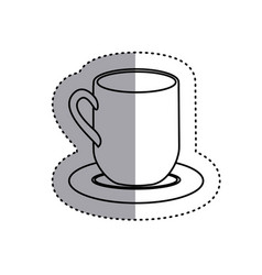 Sticker silhouette dish porcelain with mug icon vector