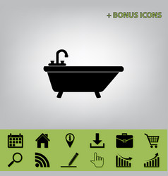 Bathtub sign   black icon at vector