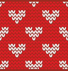 Tile knitting pattern with white hearts on red bac vector