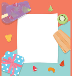 Paper copyspace with fruit popsicles icecream vector