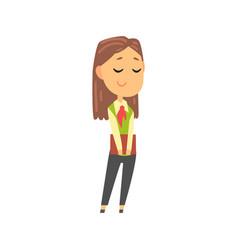 Businesswoman character in formal wear standing vector