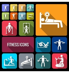 Workout training icons set flat vector