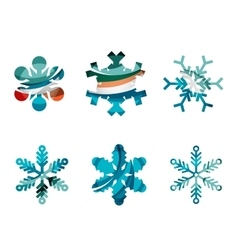 Set of abstract colorful snowflake logo icons vector