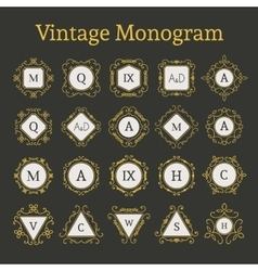 Vintage monogram set vector
