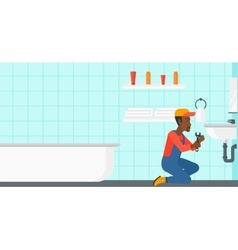 Man repairing sink vector