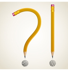 Pencils curved as question vector