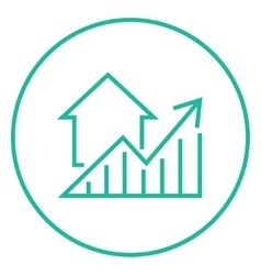 Graph of real estate prices growth line icon vector