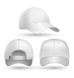 Realistic baseball cap front side back views set vector image