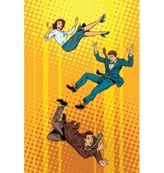 Business man and woman falling down vector