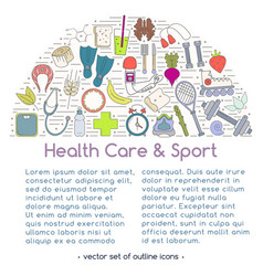 Banner includes icons of healthy food and sport vector