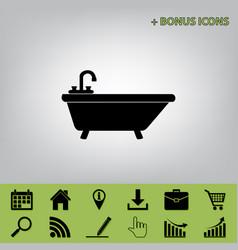 Bathtub sign black icon at vector