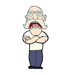 Comic cartoon angry man vector
