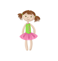 cute soft doll with brown hair sewing toy cartoon vector image vector image