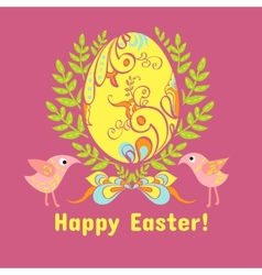 Easter card with eggs flowers and birds vector image vector image