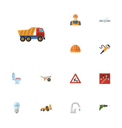 flat icons van faucet pipeline valve and other vector image vector image