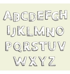 Hand drawn alphabet set Letters vector image