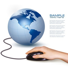 hand with computer mouse and globe vector image