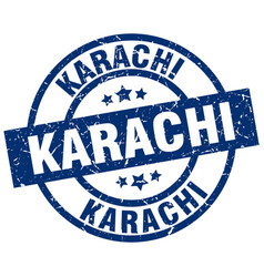 Karachi blue round grunge stamp vector