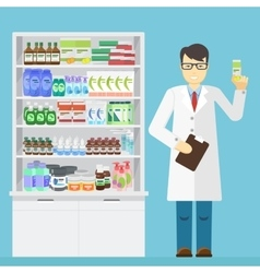Male pharmacist holding in the hands of the vector