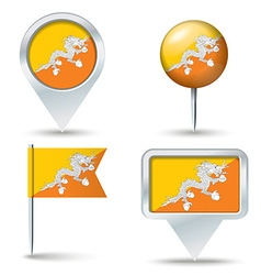 Map pins with flag of Bhutan vector image vector image