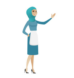 Muslim cleaner pointing at something by hand vector