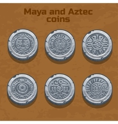 Old silver aztec and maya coins game element vector