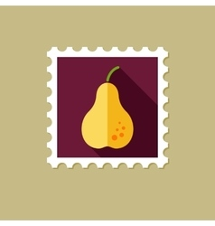 Pear flat stamp with long shadow vector image