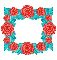 Rectangle wreath frame with red roses and leaves vector image