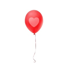 Red balloon with heart print isolated on white vector image