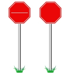 Red STOP road signs with grass isolated on white vector image