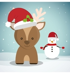 Reindeer and snowman of chistmas design vector