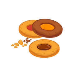 Round biscuits with caramel and chocolate inside vector