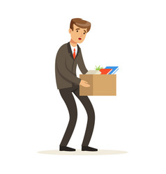 sad businessman character leaving work vector image vector image