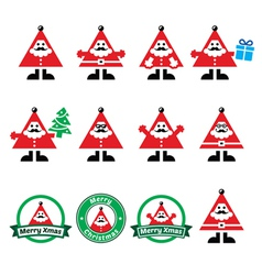 Santa Claus icons Merry Christmas icon labels vector image vector image