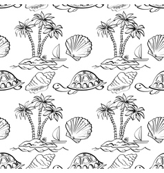 Seamless exotic pattern outline vector image vector image