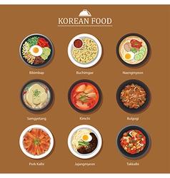 Set of korean food flat design Asia street food vector image vector image