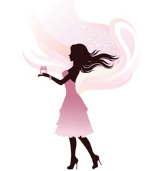 Silhouette of the girl with gift vector image