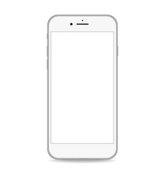 silver phone white screen realistic vector image vector image