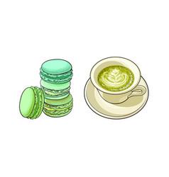 Sketch cap of mathca tea macaroni vector