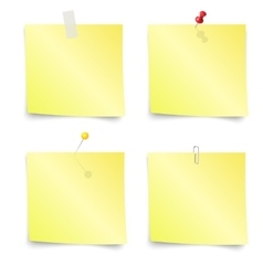 Sticky Notes - Set of yellow sticky notes vector image vector image
