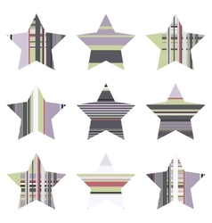 Striped five pointed star icon vector