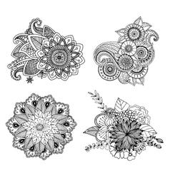 Tattoo henna element set vector