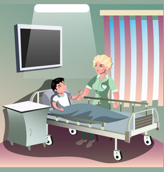 the doctor taking care of patient in the ward of vector image vector image