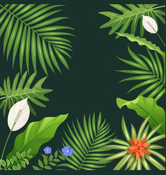 Tropical green leaf and flower background vector