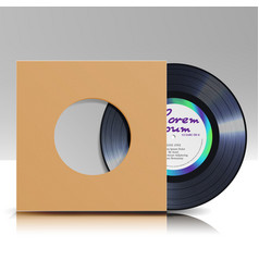 Vinyl disc in a case blank isolated white vector