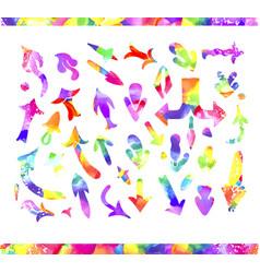 Watercolor arrow icons se vector