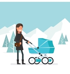 Woman in the winter for a walk with the baby in vector