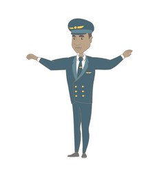 Young african pilot with arms outstretched vector